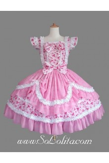 Lolita Pink Floral Cotton Square Neck Ruffles Bow Sweet Princess Dress
