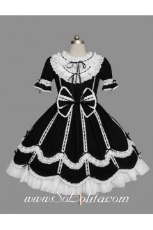 Lolita Black Cotton White Lace Doll Collar Ruffles Bow Short Sleeves Sweet Princess Dress