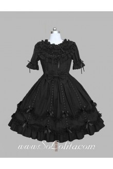 Lolita Plain Black Cotton  Doll Collar Ruffles Bow Short Sleeves Sweet Princess Dress