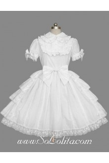 Lolita Plain White Cotton Lapel Ruffles Bow Short Sleeves Sweet Princess Dress