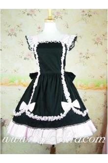 Lolita Black Pink Cotton Square Neck Cap Sleeves Ruffles Bow Princess Dress