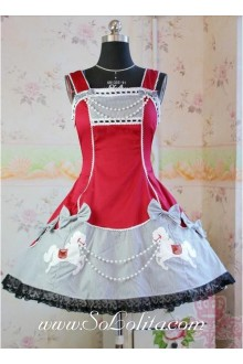 Lolita Red Cotton Square Neck Straps Bow Embroidery Beads Dress