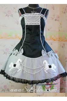 Lolita Black Cotton Square Neck Straps Bow Embroidery Beads Dress