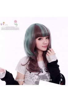 Brown Green Mixed Curl Sweet Roleplay Lolita Wig
