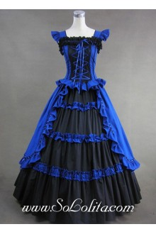 Luxuriant Elegant Royal Blue and Black Gothic Victorian Lolita Dress
