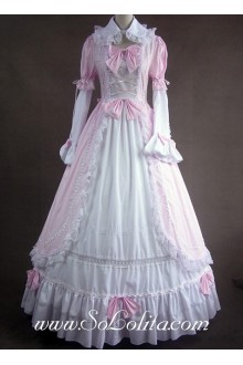 Pink and White Lace and Bows Decoration Gothic Victorian Lolita Dress