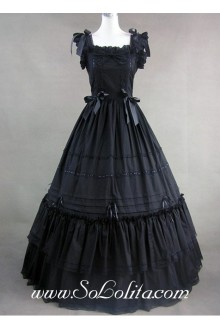 Black Bows Ruffle Ribbon decoration Gothic Victorian Lolita Dress