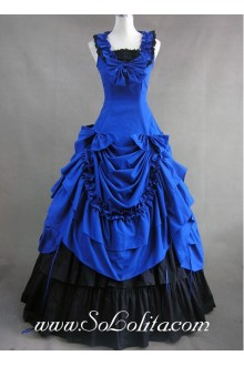 Tiers Ruffled Gorgeous Jewelry Blue and Black Gothic Victorian Lolita Dress