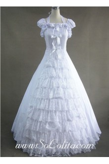 Elegant Ruffled White Lace Gothic Victorian Lolita Dress