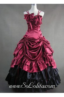 Deep Red Satin Straps Gothic Victorian Lolita Dress