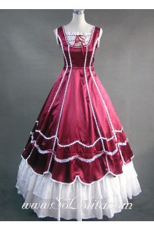 Gorgeous Tiers Ruffled Deep Red Gothic Victorian Lolita Dress