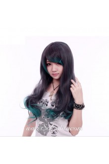 Green Black Mixed Curl Sweet Roleplay Lolita Wig
