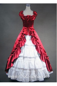 Deep Red Tiers Luxuriant Noble Gothic Victorian Lolita Dress
