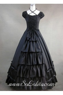 Black Cotton Bow and Buttons Decoration Gothic Victorian Lolita Dress