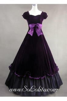 Luxuriant Deep Purple Bowknot Gothic Victorian Lolita Dress
