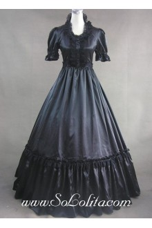 Black Lace and Buttons Decoration Gothic Victorian Lolita Dress