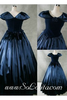 Gothic Victorian Fancy Navy Blue Lolita Dress