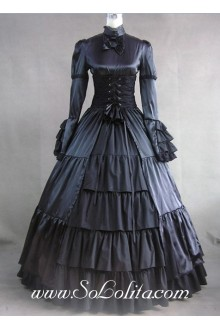 Gothic Victorian Black Long Sleeves Lolita Dress