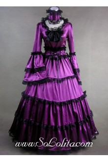 Gothic Victorian Elegant Purple Satin Black Lace Decoration Lolita Dress