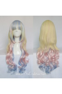 Lolita Wig Curl Sweet Ice Cream Mixed Color Medium