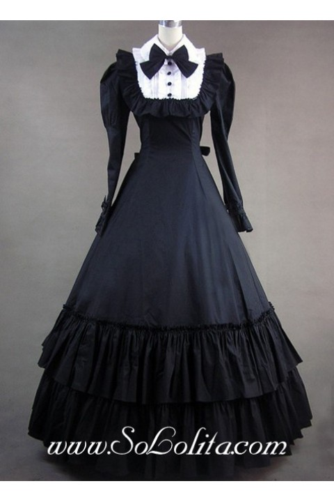 Gothic Victorian Black And White Bow And Buttons