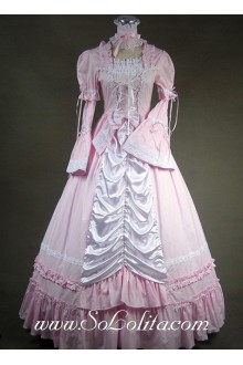 Gothic Victorian Sweet Pink and White Long Sleeves Lolita Dress