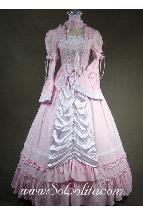 Gothic Victorian Sweet Pink and White Long Sleeves Lolita Dress ...