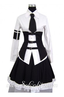 White Black Cotton Stand Collar Ruffles Splicing Punk Lolita Dress