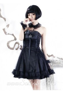 Black Strapless Sleeveless Bow Ruffle Beading Princess Punk Lolita Dress