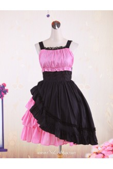 Pink Black Cotton Straps Sleeveless Tiered Punk Lolita Dress