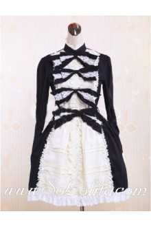 Sweet Princess Black White Bow Lace High Collar Punk Lolita Dress