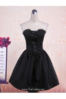 Black Tube Top Sleeveless Plain Bow Punk Lolita Dress