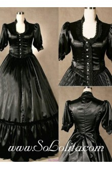 Gothic Victorian Pure Black Elegant Lolita Dress