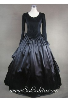 Gothic Victorian Aristocrat Pure Black Bow Tiers Lolita Dress