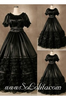 Gothic Victorian luxuriant Noble Flounce Pure Black Lolita Dress