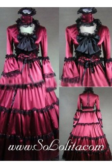 Gothic Victorian Black Bow and Lace Decoration Red Aristocratic Lolita Dress