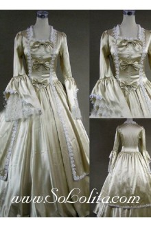 Gothic Victorian Bow and Lace Decoration Champagne Lolita Dress