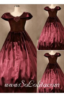 Gothic Victorian Deep Red Simple Elegant Lolita Dress