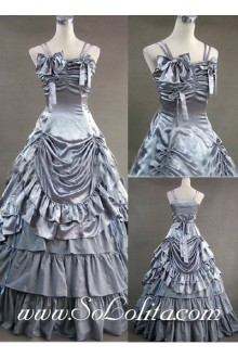 Gothic Victorian Super Exquisite silver Straps Long Lolita Dress