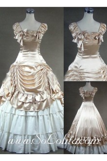 Gothic Victorian Super Luxuriant Champagne and White Lolita Dress
