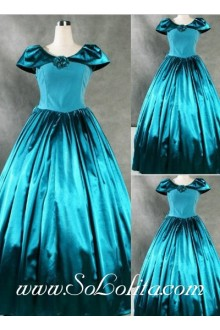Gothic Victorian Graceful Noble Blue Cap Sleeves Lolita Dress