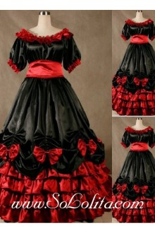 Gothic Victorian Super Gorgeous Tiers Black and Red Lolita Dress