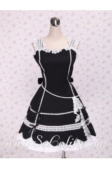 White lacing Hem Patel Shaped Skirt Black Punk LOlita Dress