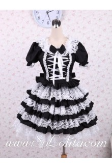 White lacing Bow Tie Puff Sleeves Punk LOlita Dress