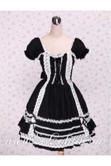 White lacing Crossing Ribbon Ties Hem Short Punk LOlita Dress