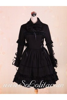 Flouncing Hem Long Sleeve Black Punk LOlita Dress