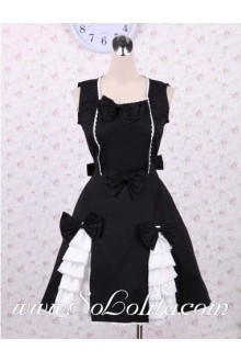 Bow and Lace Decoration Square Collar Simple Sweet Punk LOlita Dress