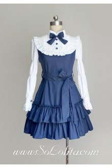 Dark Blue Cotton Stand Collar Long Sleeves Ruffles Bow Classic Lolita Dress