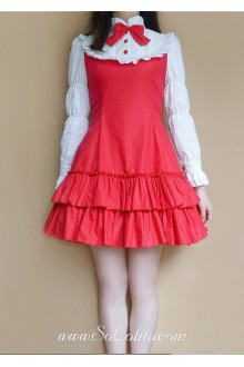 Red Cotton Stand Collar Long Sleeves Ruffles Bow Classic Lolita Dress