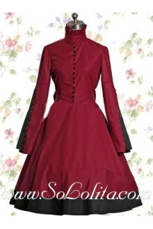 Dark Red Cotton Stand Collar Long Sleeves Buttons Bows Classic Lolita Dress
